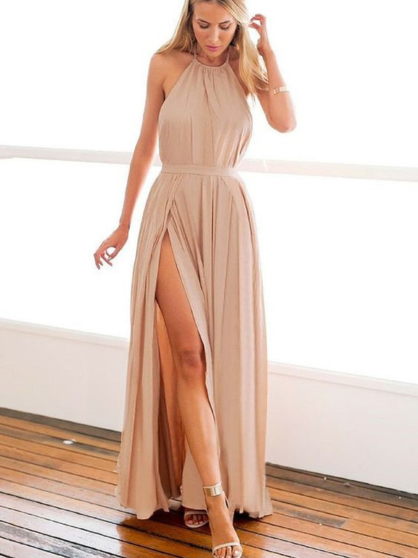 Perfect A-Line Halter Sleeveless Floor-Length Chiffon Dress