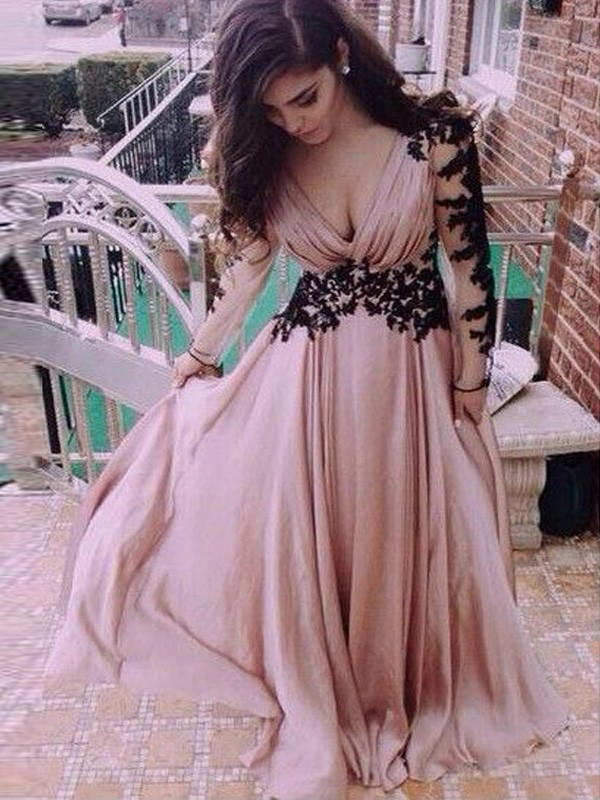 Perfect A-Line Long Sleeves V-neck Chiffon Floor-Length Dress