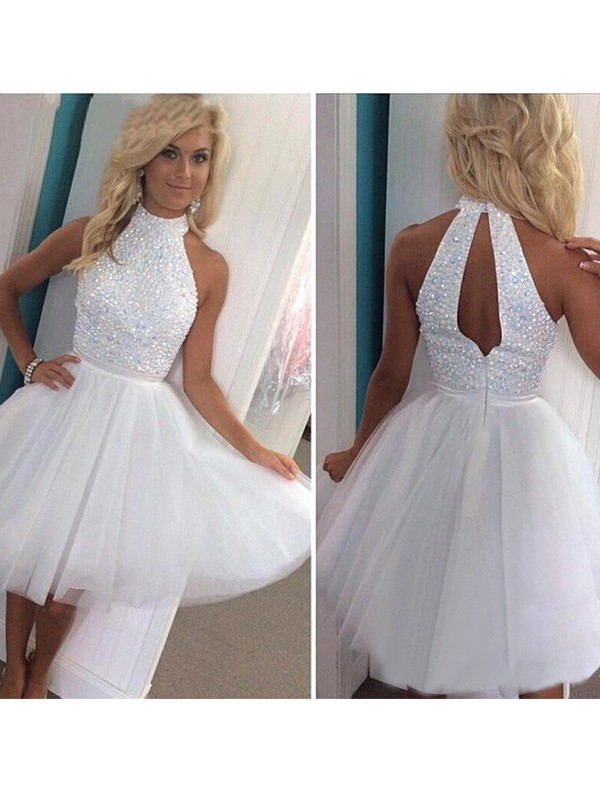 Discount A-Line Sleeveless Halter Tulle Short/Mini Dress