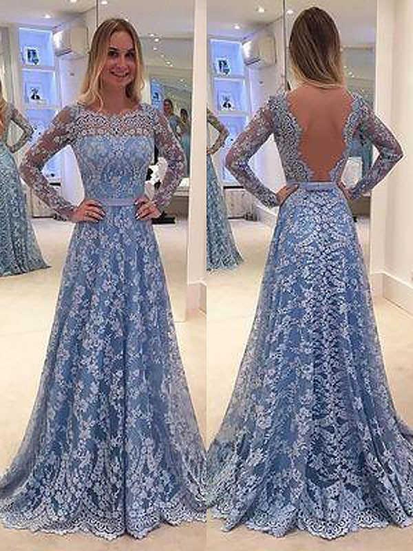 Stylish A-Line Long Sleeves Lace Floor-Length Bateau Dress