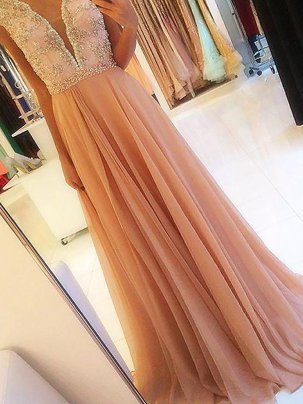 Stylish A-Line Sleeveless V-neck Chiffon Sweep/Brush Train Dress
