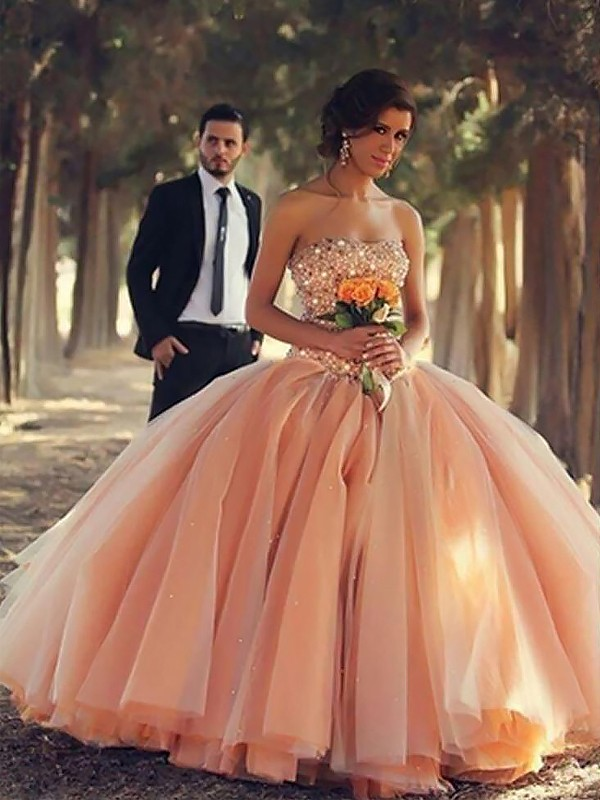 Fashion Ball Gown Sleeveless Strapless Floor-Length Tulle Dress