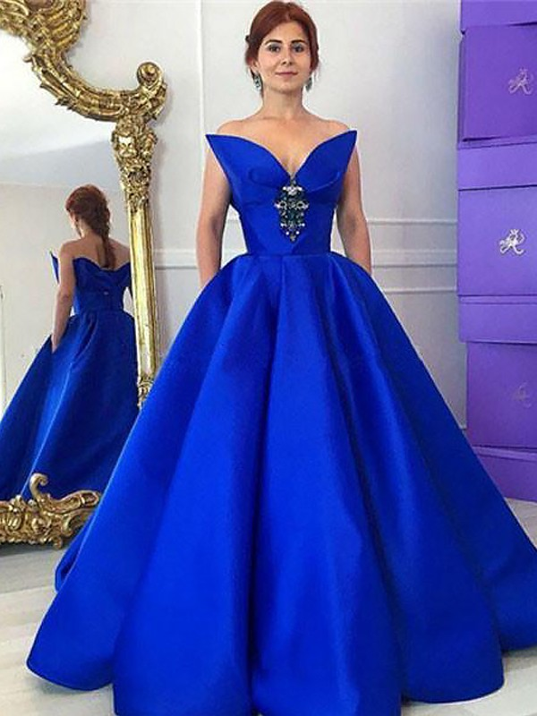 Fashion Ball Gown Sleeveless V-neck Floor-Length Satin Dress