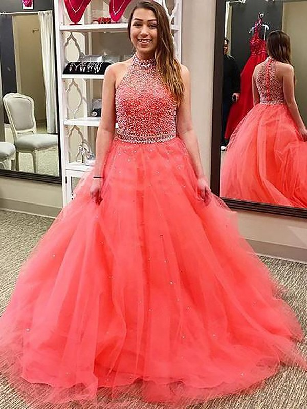 Fashion Ball Gown Sleeveless Halter Floor-Length Tulle Dress