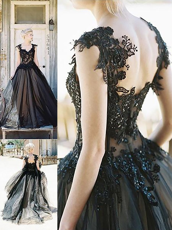 Fashion Ball Gown Sleeveless Sweetheart Lace Sweep/Brush Train Tulle Dress