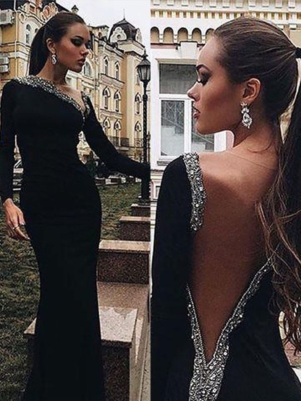 Fashion Mermaid Long Sleeves One-Shoulder Spandex Sweep/Brush Train Dress
