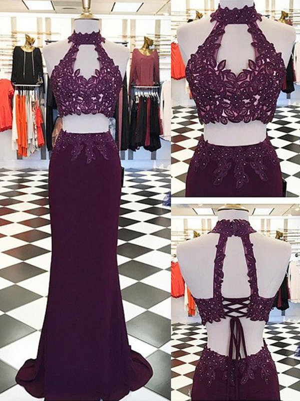 Perfect Sheath Halter Floor-Length Sleeveless Spandex Two Piece Dress