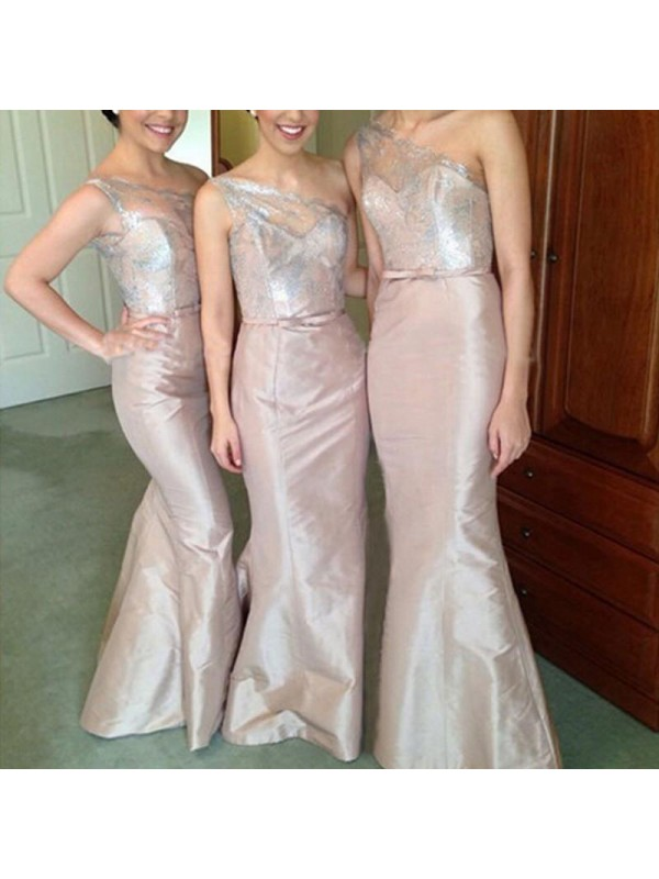 Exquisite Mermaid One-Shoulder Sleeveless Satin Floor-Length Bridesmaid Dress