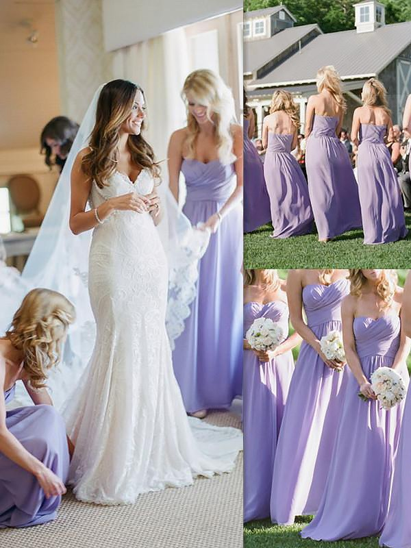 Exquisite A-Line Sleeveless Chiffon Floor-Length Sweetheart Bridesmaid Dress