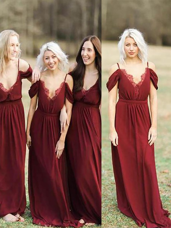 Exquisite A-Line Spaghetti Straps Sleeveless Floor-Length Lace Chiffon Bridesmaid Dress