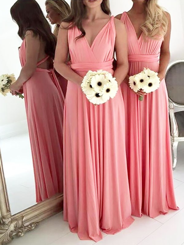 Exquisite A-Line V-neck Floor-Length Spandex Sleeveless Bridesmaid Dress
