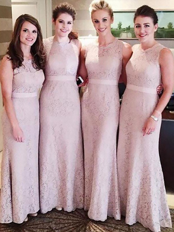 Exquisite Sheath Lace Scoop Sleeveless Floor-Length Bridesmaid Dress