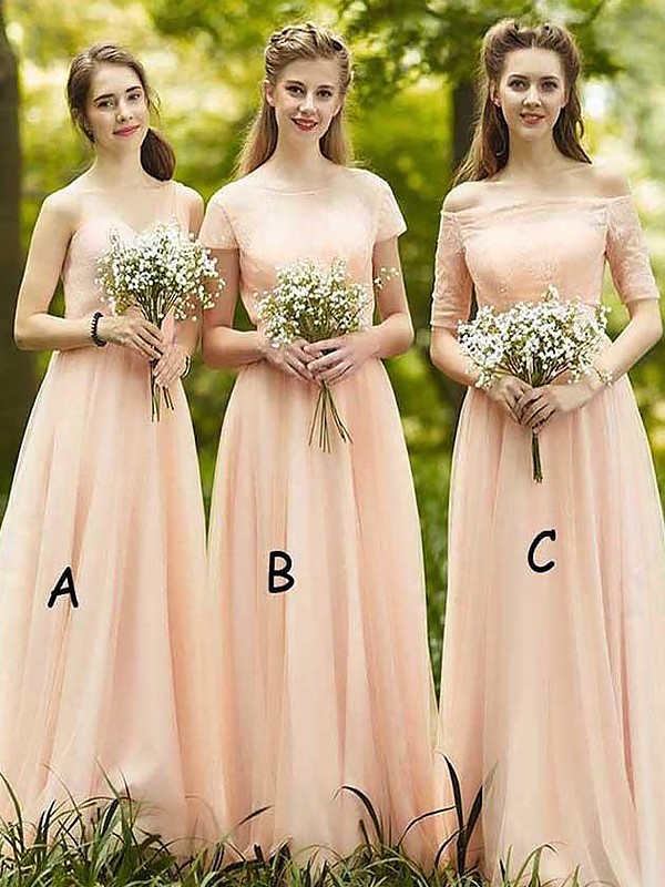 Exquisite A-Line Chiffon Sleeveless Floor-Length Bridesmaid Dress