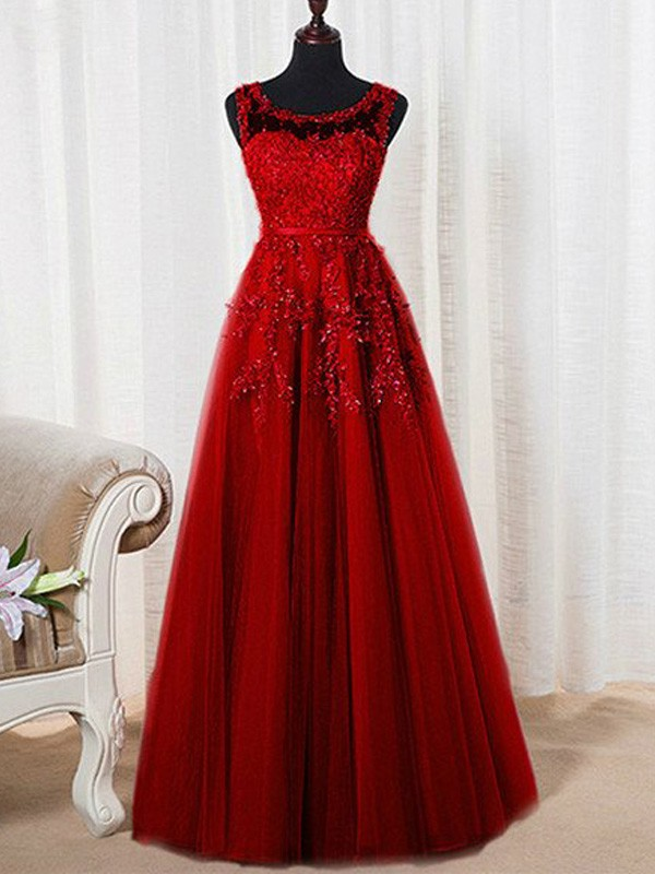 Stunning A-Line Sleeveless Scoop Floor-Length Tulle Dress