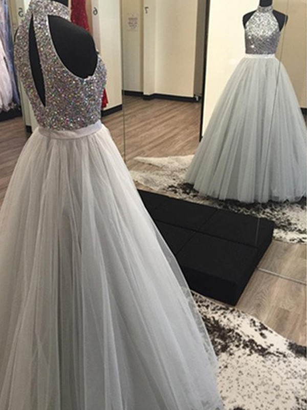 Stunning A-Line Halter Sleeveless Floor-Length Tulle Dress
