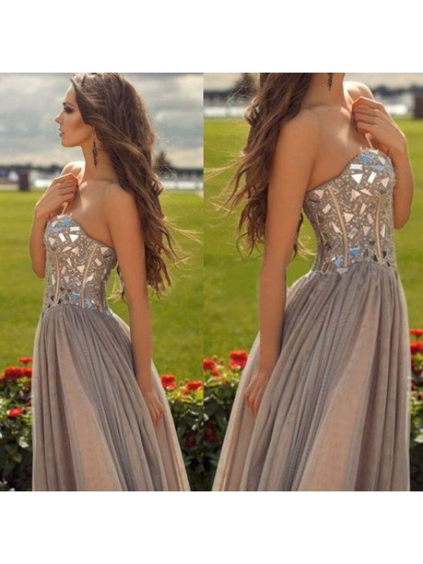 Perfect A-Line Sweetheart Sleeveless Chiffon Floor-Length Dress