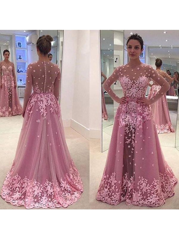 Perfect A-Line Scoop Long Sleeves Tulle Floor-Length Dress
