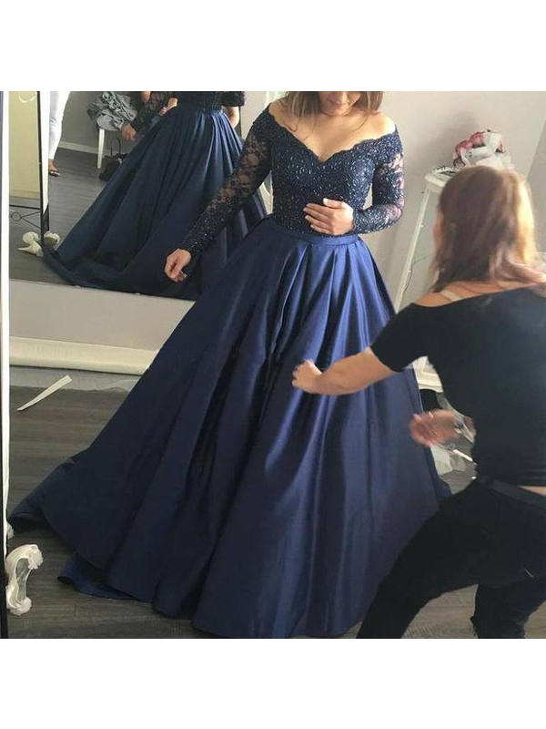 Perfect Ball Gown Off-the-Shoulder Long Sleeves Satin Sweep/Brush Train Dress
