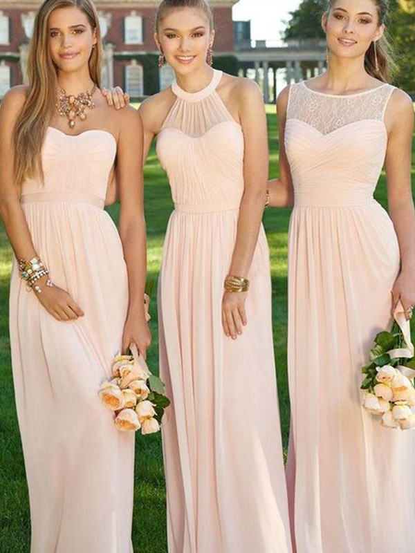 Cheap A-Line Sleeveless Floor-Length Chiffon Bridesmaid Dress