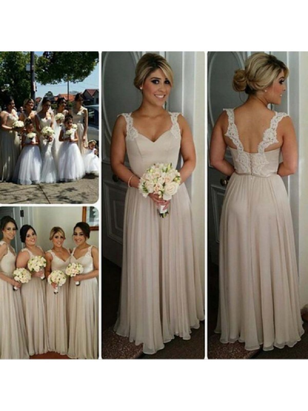 Cheap A-Line Sweetheart Sleeveless Floor-Length Chiffon Bridesmaid Dress