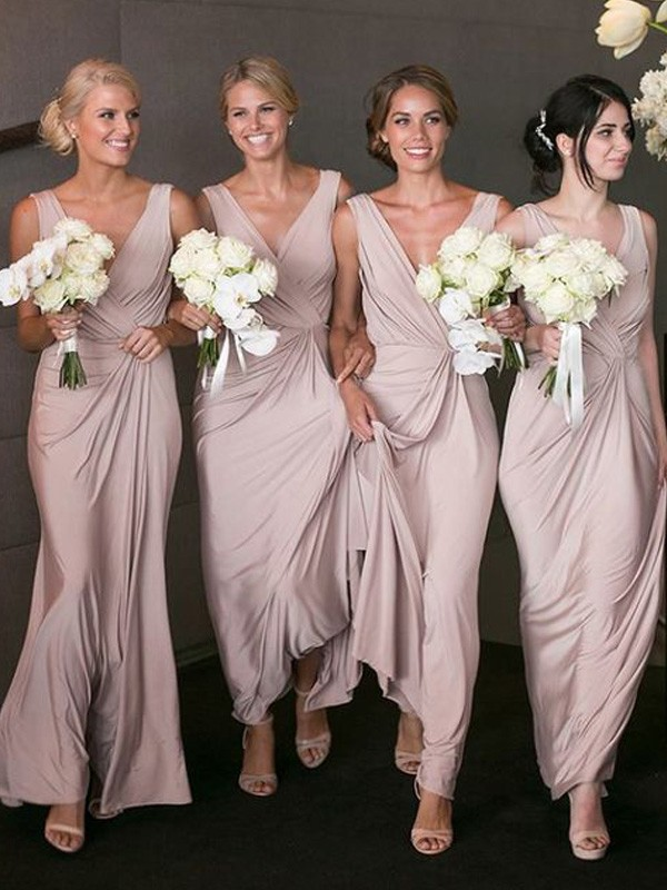 Discount A-Line V-neck Sleeveless Floor-Length Chiffon Bridesmaid Dress