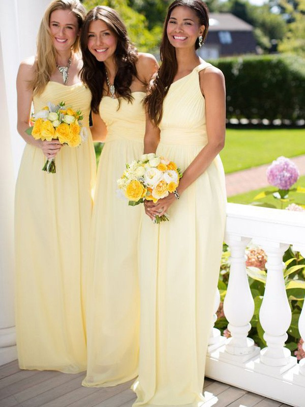 Discount A-Line Sleeveless Floor-Length Chiffon Bridesmaid Dress