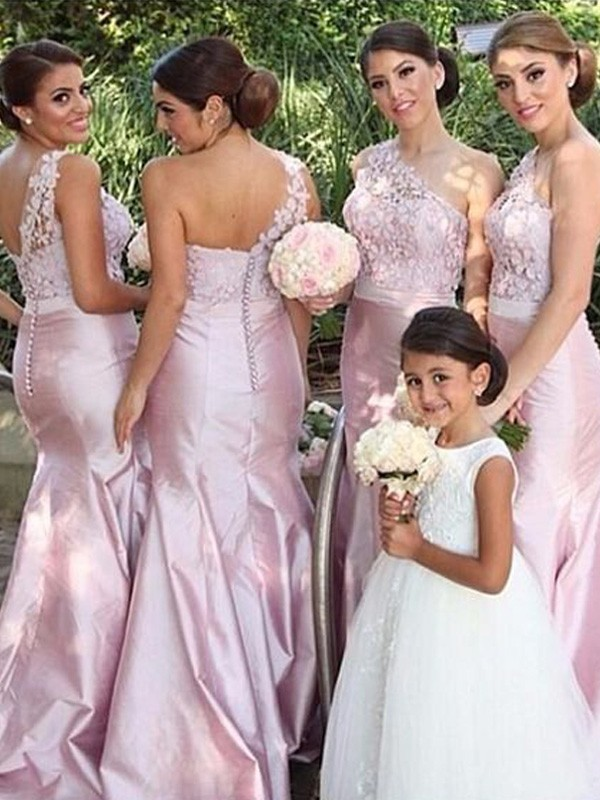 Discount Mermaid One-Shoulder Sleeveless Satin Floor-Length Bridesmaid Dress