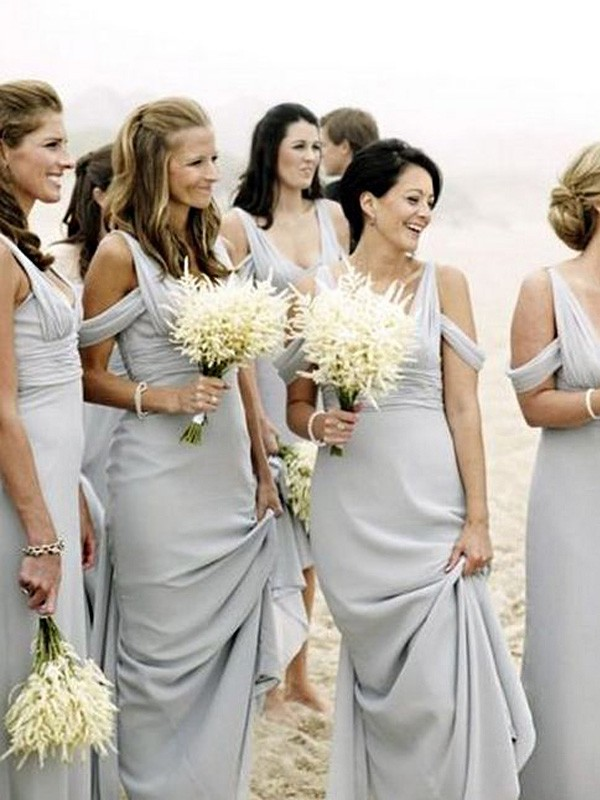 Affordable Sheath V-neck Sleeveless Floor-Length Chiffon Bridesmaid Dress