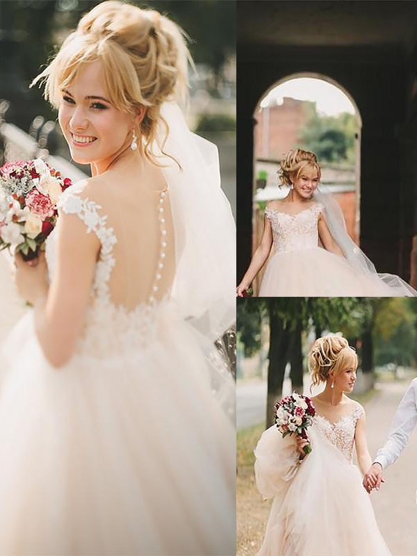 Exquisite A-Line Scoop Court Train Tulle Sleeveless Wedding Dress