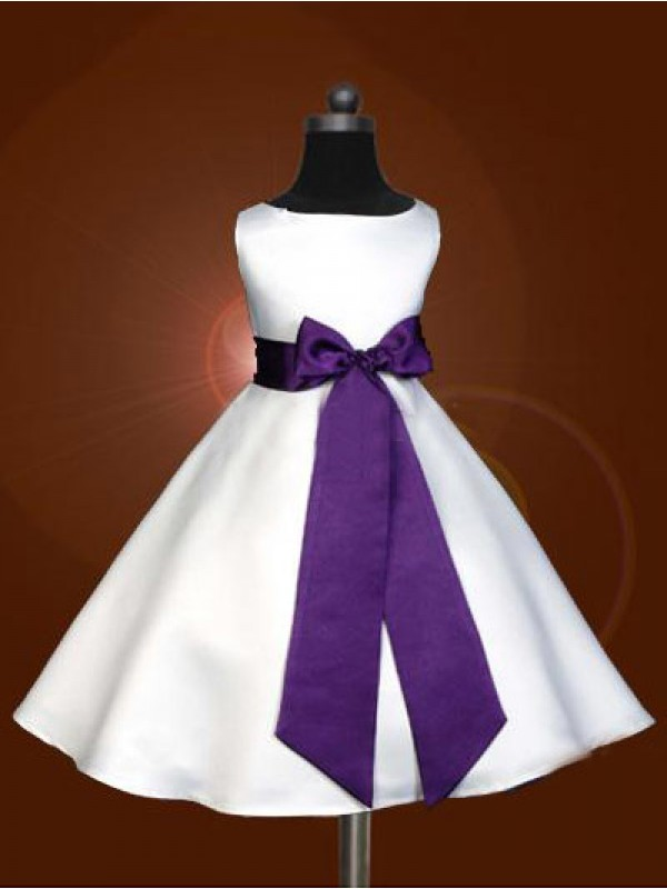 Affordable A-line Scoop Sleeveless Bowknot Ankle-length Satin Flower Girl Dress