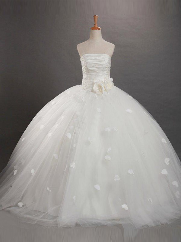 Exquisite Ball Gown Strapless Ruffles Sleeveless Floor-length Tulle Flower Girl Dress