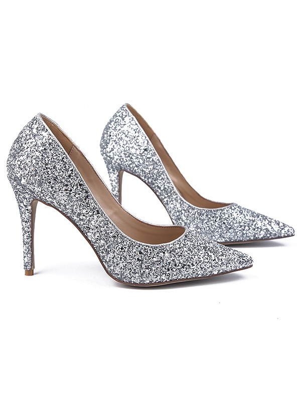 Beautiful Women Sparkling Glitter Closed Toe Stiletto Heel High Heels