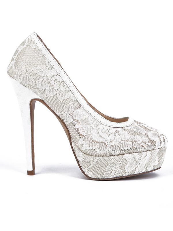 Beautiful Women Lace Stiletto Heel Closed Toe Platform High Heels