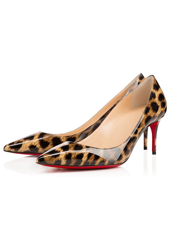 Beautiful Women Leopard Print Patent Leather Closed Toe Stiletto Heel High Heels