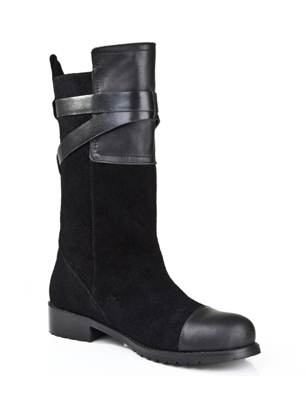 New Women Suede Kitten Heel Closed Toe Buckle Mid-Calf Black Boots