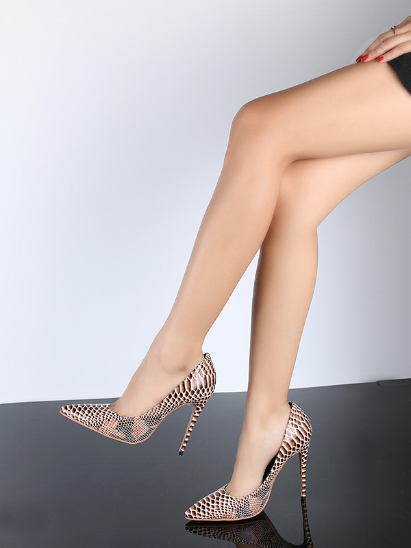 Fancy Women Closed Toe PU Stiletto Heel Snake Print High Heels