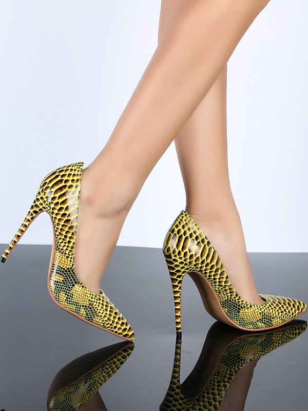 Fancy Women Closed Toe Yellow PU Stiletto Heel Snake Print High Heels