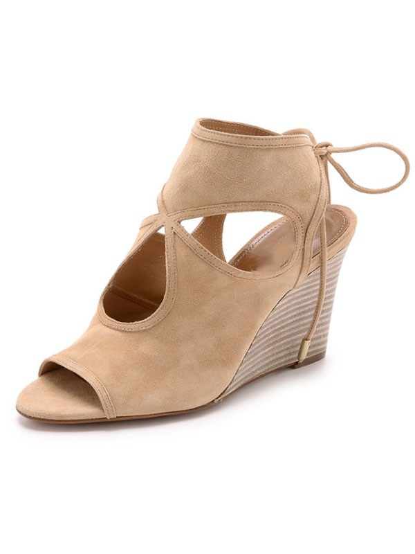 New Women Peep Toe Suede Wedge Heel Lace-up Sandal Ankle Champagne Boots