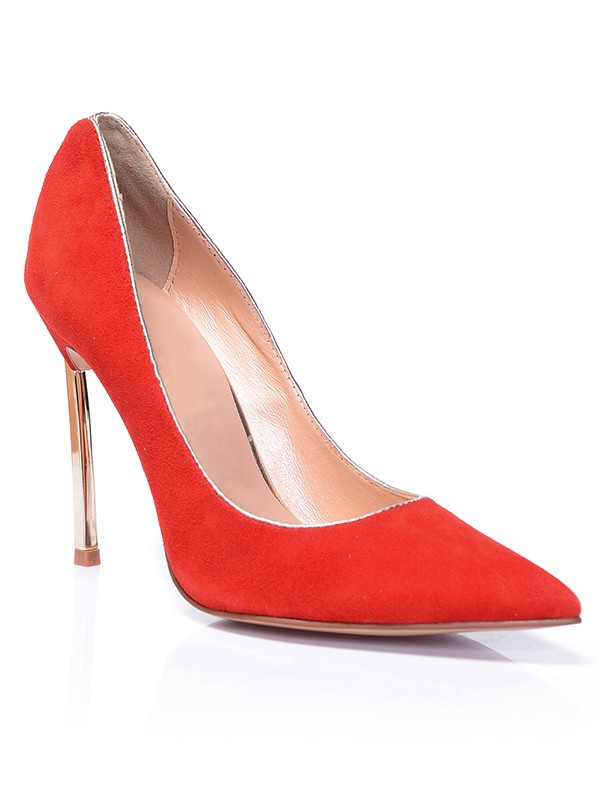Beautiful Women Red Closed Toe Suede Stiletto Heel High Heels