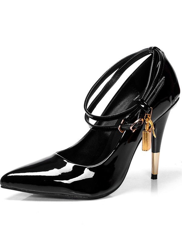 Beautiful Women Patent Leather Closed Toe Cone Heel Buckle High Heels