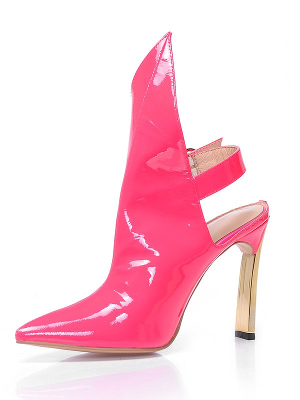 Hot Sale Women Patent Leather Closed Toe Stiletto Heel Buckle Ankle Watermelon Boots