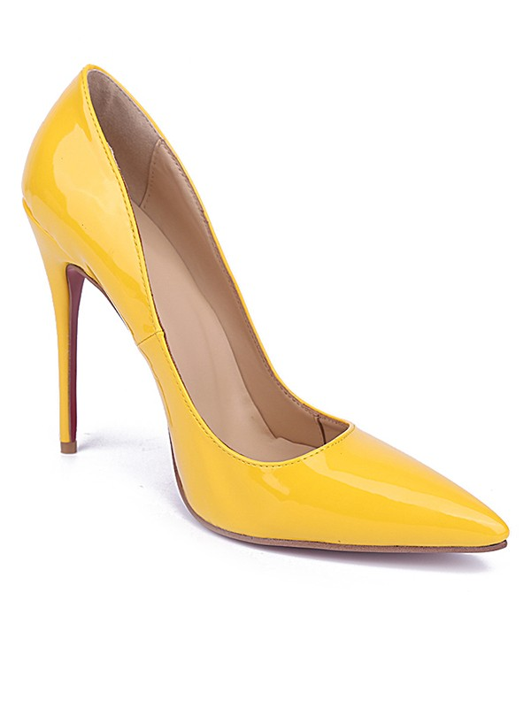 Beautiful Women Yellow Closed Toe Stiletto Heel Patent Leather High Heels