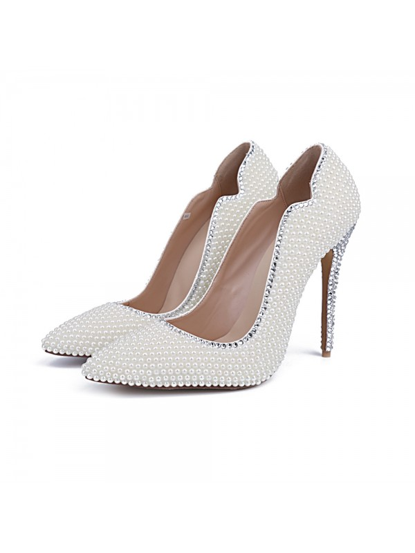 Classical Women Closed Toe Patent Leather Stiletto Heel Pearl White Wedding Shoes