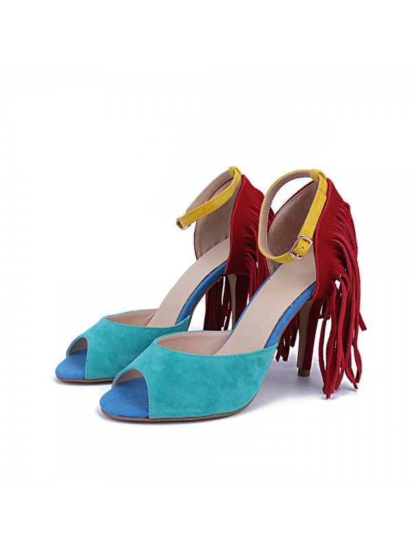 Hot Sale Women Suede Peep Toe Stiletto Heel Tassel Sandals Shoes