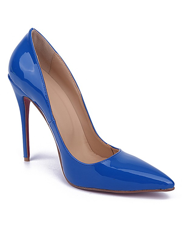 Beautiful Women Royal Blue Closed Toe Stiletto Heel Patent Leather High Heels