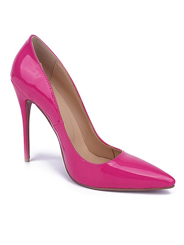 Beautiful Women Patent Leather Closed Toe Stiletto Heel High Heels