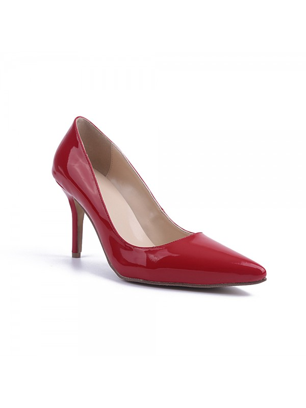 Beautiful Women Red Stiletto Heel Patent Leather Closed Toe High Heels