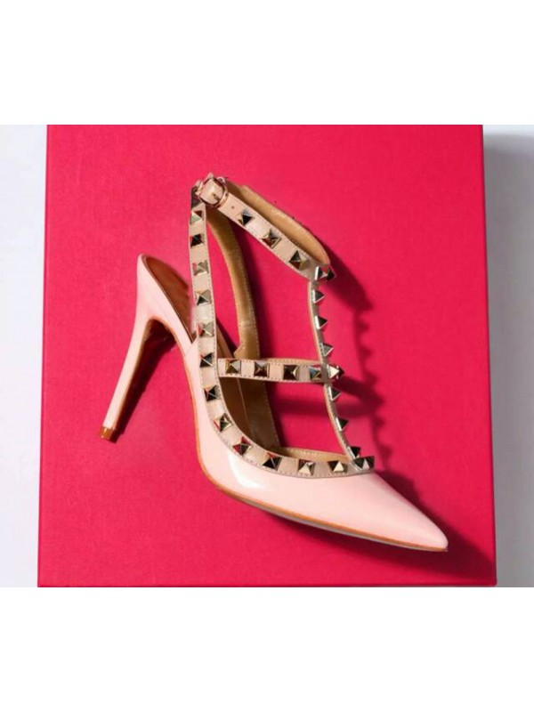 Hot Sale Women Closed Toe Patent Leather Stiletto Heel Rivet Sandals Shoes