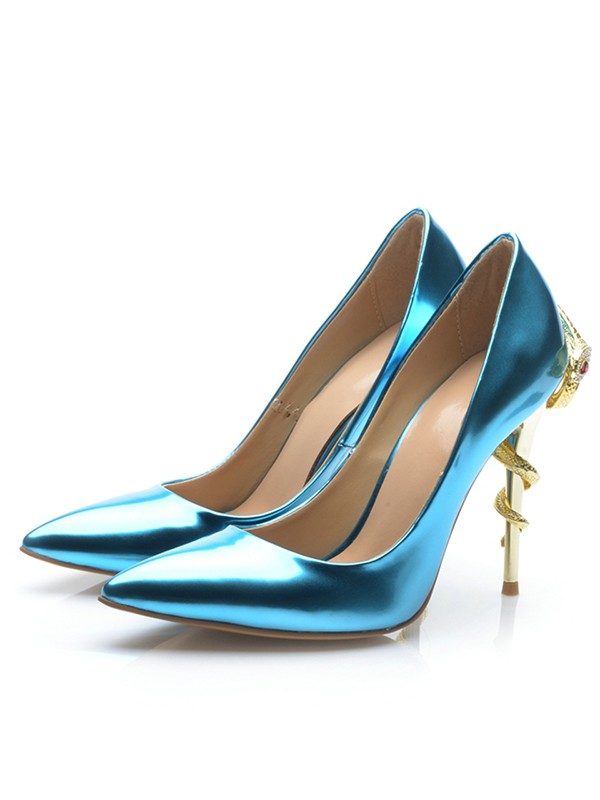 Chic Women Patent Leather Closed Toe Stiletto Heel High Heels