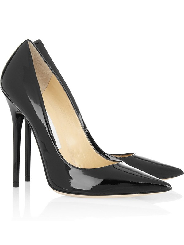 Chic Women Black Patent Leather Closed Toe Stiletto Heel Office High Heels